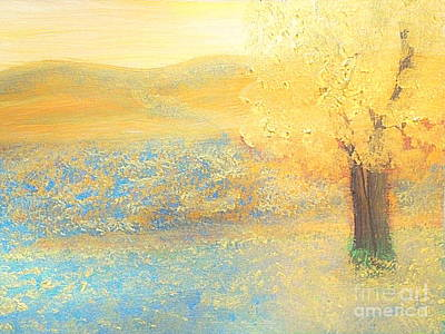 Pioneer Woman Painting - Texas Bluebonnet Gold 1 by Richard W Linford