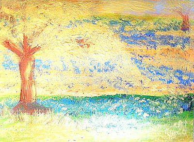 Painting - Texas Bluebonnet Gold 2 by Richard W Linford