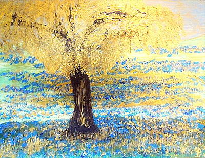 Painting - Texas Bluebonnet Gold 3 by Richard W Linford