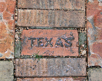 Texas Brick Walkway Art Print by Kathy Peltomaa Lewis
