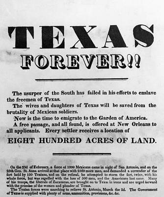 Republic Of Texas Painting - Texas Broadside, 1836 by Granger
