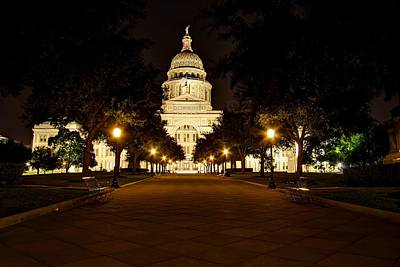 Art Print featuring the photograph Texas Capitol At Night by Dave Files