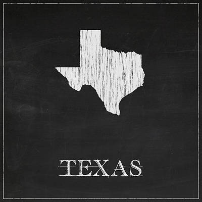 Vintage Map Digital Art - Texas Chalk State Map by Finlay McNevin