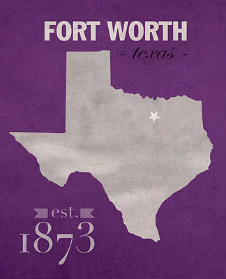 Universities Mixed Media - Texas Christian University Tcu Horned Frogs Fort Worth College Town State Map Poster Series No 107 by Design Turnpike