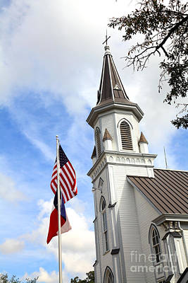 Texas Church And Flags Art Print by Pattie Calfy
