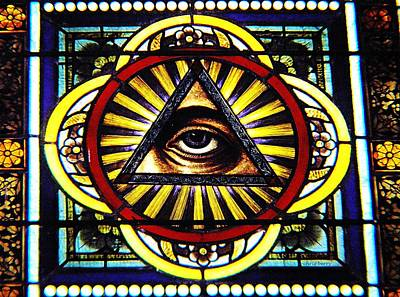 Photograph - Eye Of Providence Texas Church Window by Chris Berry