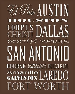 Texas Cities On Brown Art Print by Debbie Karnes