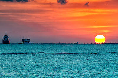 Sunset On The Houston Ship Channel Art Print