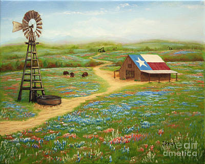 Water Mill Painting - Texas Countryside by Jimmie Bartlett