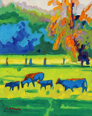 Painting - Texas Cows At Sunset Oil Painting Bertram Poole Apr14 by Thomas Bertram POOLE