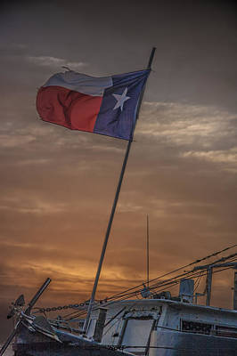 Texas Flag Flying From A Fishing Boat At Sunrise Print by Randall Nyhof