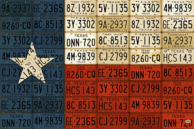 Handmade Mixed Media - Texas Flag The Lone Star State License Plate Art by Design Turnpike