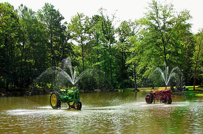 Photograph - Texas Fountains - Tractors - Water Fountains by Marie Jamieson