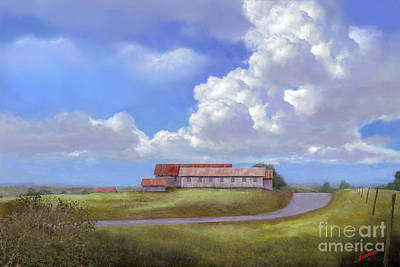 Old Country Roads Digital Art - Texas Hill Country Barns by Charles Fennen