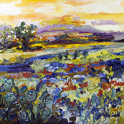 Texas Hill Country Bluebonnets And Indian Paintbrush Sunset Landscape Art Print