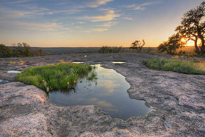 Prickly Pear Photograph - Texas Hill Country Images - Zen Pools At Enchanted Rock State Pa by Rob Greebon