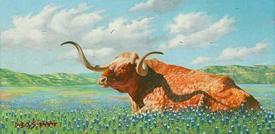 Steer Painting - Texas by Howard Dubois