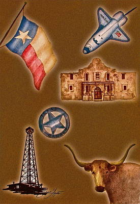 Texas Icons Poster By Sant'agata Art Print by Frank SantAgata
