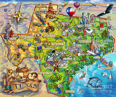 Texas Drawing - Texas Illustrated Map by Maria Rabinky