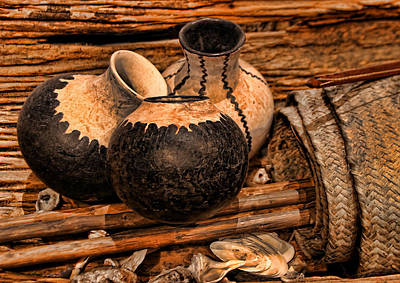 Texas Indian Potterry Jars And Artifacts Art Print by Linda Phelps