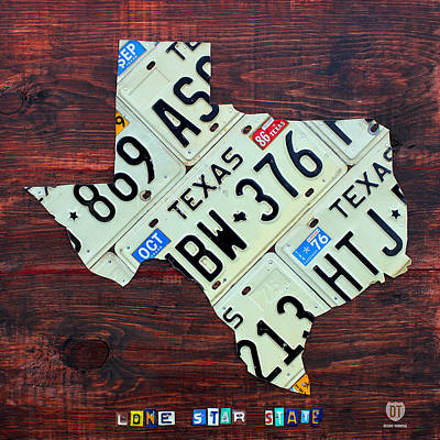 Handmade Mixed Media - Texas License Plate Map The Lone Star State On Fruitwood by Design Turnpike