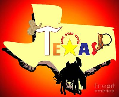 Painting - Texas Lone Star State by Belinda Threeths