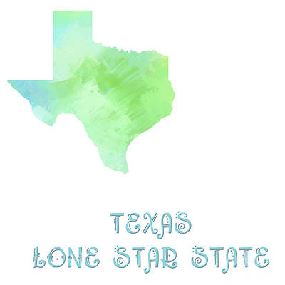 Texas - Lone Star State - Map - State Phrase - Geology Art Print by Andee Design
