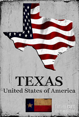 Caligraphy Digital Art - Texas Lone Star State Usa by Karl Jones