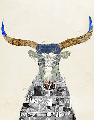 Colorful Cow Painting - Texas Longhorn by Bri B