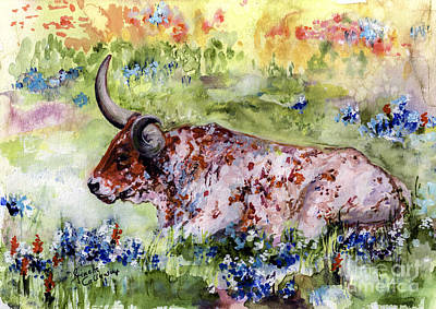 Texas Longhorn In Blue Bonnets Art Print