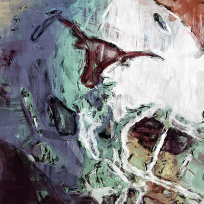 Football Royalty-Free and Rights-Managed Images - Texas Longhorns Helmet Abstract by David G Paul
