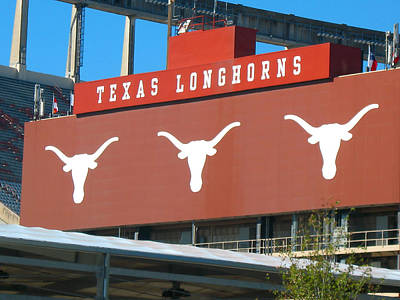 Texas Longhorns Sign Art Print by Connie Fox