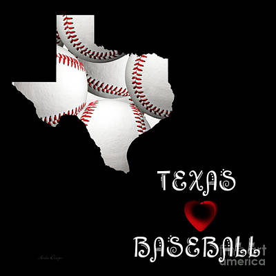 Red Digital Art - Texas Loves Baseball by Andee Design