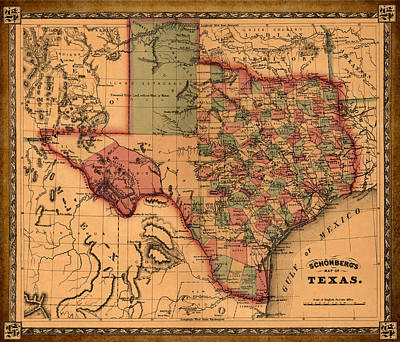 Texas Map Art - Vintage Antique Map Of Texas Art Print by World Art Prints And Designs