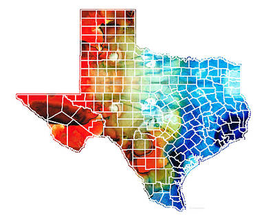 Longhorn Mixed Media - Texas Map - Counties By Sharon Cummings by Sharon Cummings