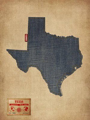 University Wall Art - Digital Art - Texas Map Denim Jeans Style by Michael Tompsett