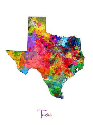 Texas Map Art Print by Michael Tompsett