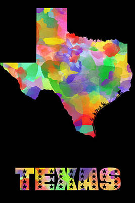 Painting - Texas Map Watercolor On Black by Eti Reid