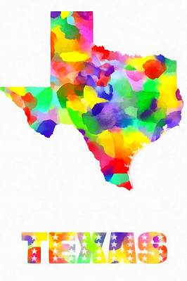 Painting - Texas Map Watercolor On White by Eti Reid