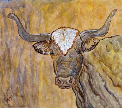 Art Print featuring the painting Texas O Texas Longhorn by Ella Kaye Dickey