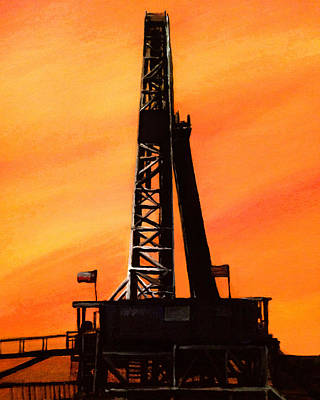 Texas Oil Rig Art Print