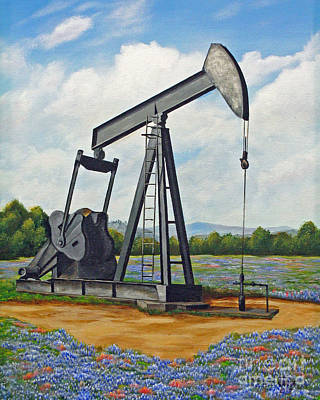Oil Rig Painting - Texas Oil Well by Jimmie Bartlett