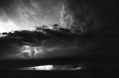 Art Print featuring the photograph Texas Panhandle Supercell - Black And White by Jason Politte