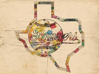 Painting - Texas Rangers Logo Vintage by Florian Rodarte