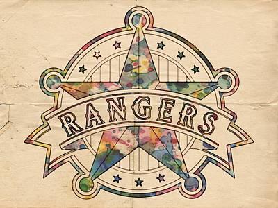 Mlb Painting - Texas Rangers Poster Art by Florian Rodarte