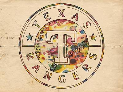 Bat Digital Art - Texas Rangers Poster Vintage by Florian Rodarte