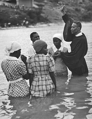 Baptism Photograph - Texas River Baptism by Underwood Archives