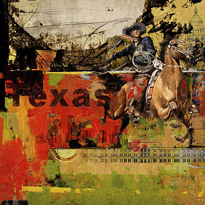 Texas Rodeo Print by Corporate Art Task Force
