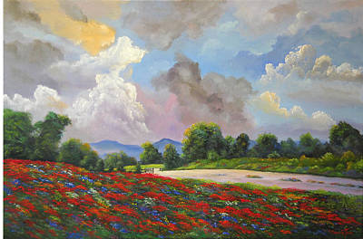 Painting - Texas Skies Over Fields Of Flowers by Connie Tom