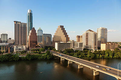 Cityscapes Photograph - Texas Skyline During Golden Hour by Peter Tsai Photography - Www.petertsaiphotography.com